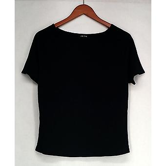 Iman T-Shirt Top Basic Short Sleeve Crew Neck Tee Top Black Womens