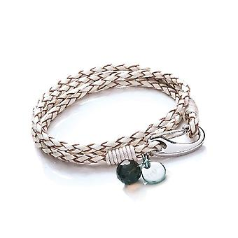 Tribal Steel Women's bracelet in white 4-braided 19cm braids with large stainless steel hook closure - Crystal Charm - Disc