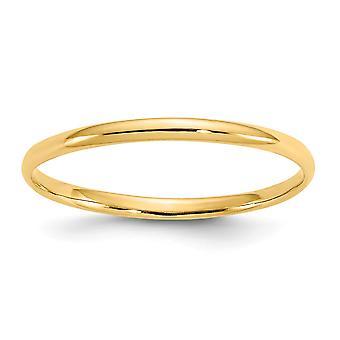 Erkek veya kız yüzük boyutu 3 için 14k Sarı Altın Cilalı Düz Bant
