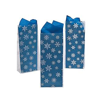 12 snowflake afgedrukt witte cellofaan Christmas Party Bags | Gift Wrap Supplies