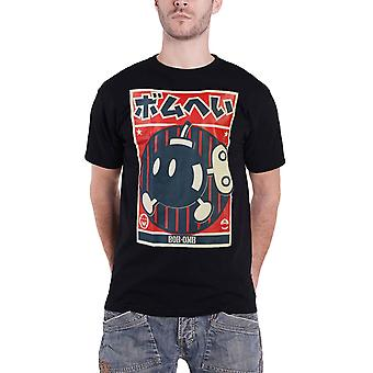 Super Mario T Shirt Bob-Omb Propaganda Poster new Official Mens Black