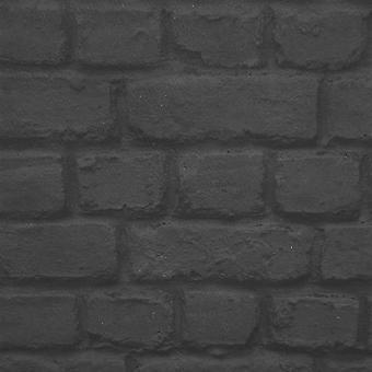 Zwarte bakstenen effect behang Rasch 226744