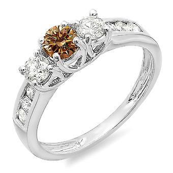 Dazzlingrock Collection 0.90 Carat (ctw) 10K Champagne and White Diamond 3 Stone Engagement Bridal Ring, White Gold