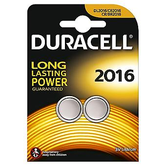 2 x Duracell CR2016 3v Lithium Coin Cell Button Battery 2016 DL2016 BR2016