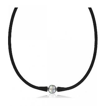 Luna-Pearls Pearl Necklace Tahitiperle 12-13 mm Stainless Steel Silicone 50 cm 1063898