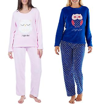 Selena Secrets Womens Owl Fleece Long Sleeve Nightwear Top Bottom Pyjama Set