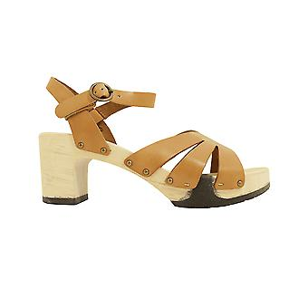 Paul Green 7459-01 Tan Leather Womens Ankle Strap Platform Sandals