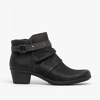 Earth Spirit Melrose Ladies Nubuck Leather Ankle Boots Black