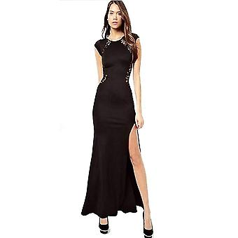 Señoras sexy muslo alto cordón negro sin mangas vestido de noche largo