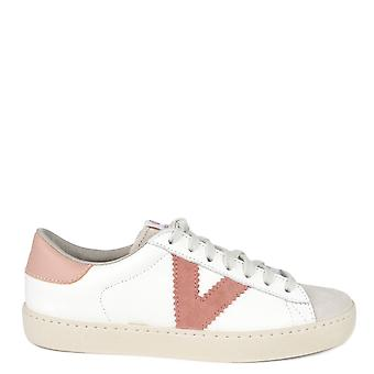 Victoria Shoes Berlin White Leather And Nude Trainer