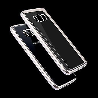 For Samsung Galaxy S8 PLUS tilfelle, gjennomsiktig galvanisert skjerming deksel, sølv