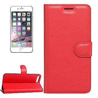 For iPhone 8,7 Wallet Case,Stylish Lychee Durable Protective Leather Cover,Red