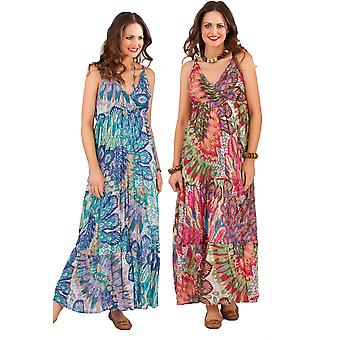 Pistachio Women's Peacock Feather Summer Maxi Dress