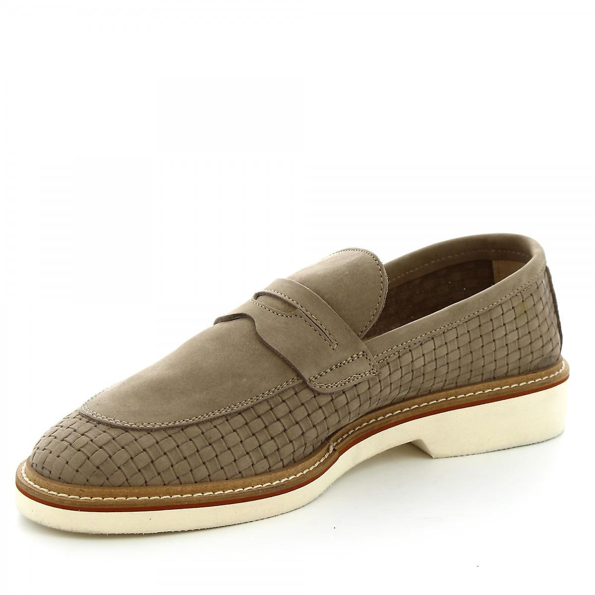 Leonardo Shoes Men's Handmade Loafers In Woven Taupe Suede Leather