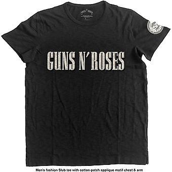 Guns n' Roses Applique Text Logo Officiella Tee T-Shirt Mens Unisex