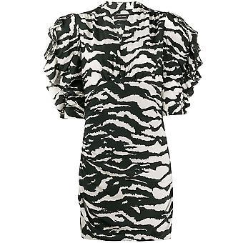 Isabel Marant Ro159620p020i01bk Women's White/black Silk Dress