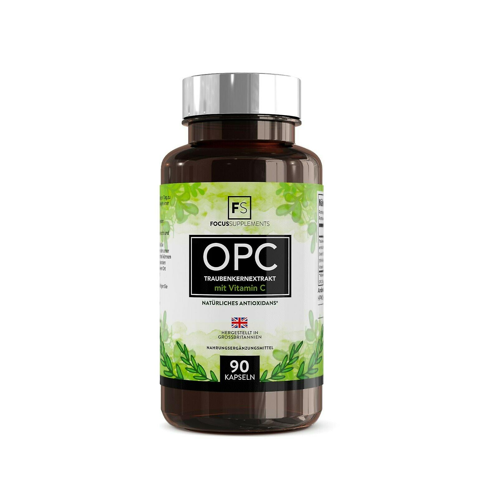 Focus Supplements Grapeseed Extract (OPC) with Vitamin C (300mg) Capsules