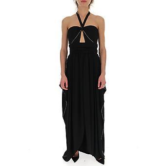 Amen Amw19506009 Damen's schwarze Viskose Kleid