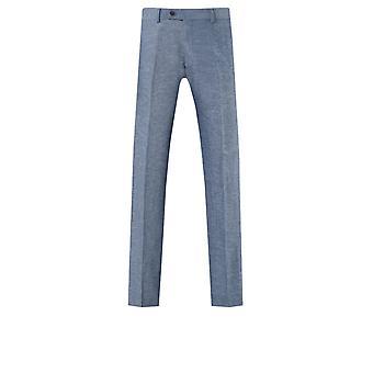 Dobell Mens Light Blue Suit Trousers Regular Fit Lightweight Linen