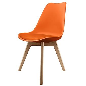 Fusion Living Eiffel Inspired Orange Plastic Dining Chair With Squared Light Wood Legs