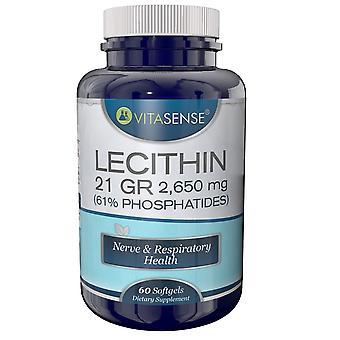 VitaSense Lecithin 21 Gr 1325 Mg 61% Phosphatides - Nerve & Respiratory Health - 60 Softgels