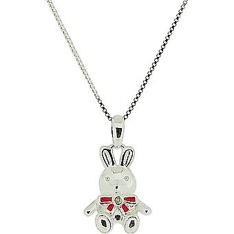 D Pour Diamond Girls Sterling Silver Teddy Bear Charm Pendant on 14 Inch Chain