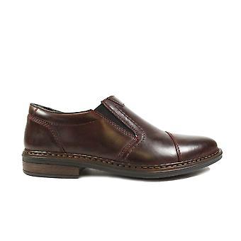 Rieker Dustin 17659-35 Burgundy Leather Mens Slip On Shoes