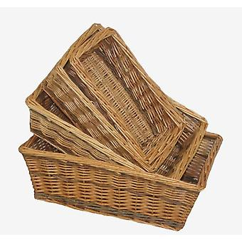 Two Tone Rectangular Wicker Tray Set 4