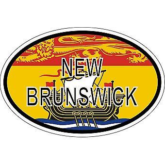 ملصقا البيضاوي البيضاوي العلم رمز البلد كندا نيو برونزويك