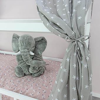 Zasłona łóżka domowego Frida, gwiazdki szare, 146 x 298 cm