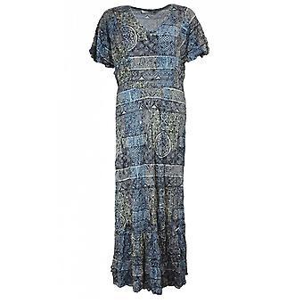 Lauren Vidal Patterned Crinkle Maxi Dress