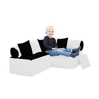 Fun!ture Black and White Children's Furniture Bean Bag Reading Sitting Corner Sofa