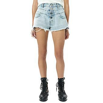 Amiri Y0w11473desky Women's Light Blue Cotton Shorts