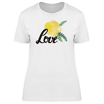 A palavra amor com flor amarela Tee feminino-imagem por Shutterstock