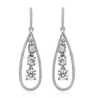 Drop Dangle with Swarovski Zirconia Earrings Sterling Silver Platinum Plated TJC