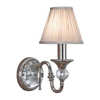 1 Light Indoor Candle Wall Light Polished Nickel Plate With Beige Shade