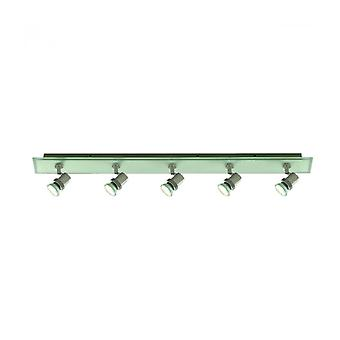 Ceiling Light 80cm Top Hat, Chrome Clear And Frosted Glass