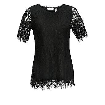 Isaac Mizrahi ao vivo! Women's XXS Short Slve V-Neck Knit Lace Top Black A378743