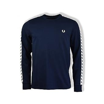 Fred Perry Taped Long-Sleeved Ringer T-Shirt (Carbon Blue)