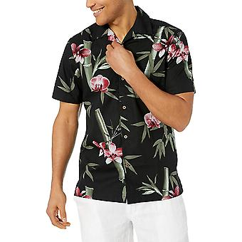 28 Palms Men's Standard-Fit 100% Cotton Tropical Hawaiian Shirt, Black/Pink B...