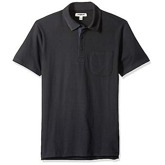 Goodthreads Men's Short-Sleeve Sueded Jersey Polo, Black, Medium