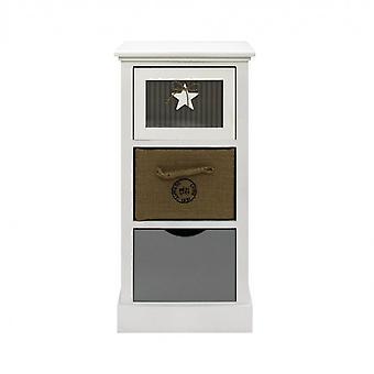 Rebecca Furniture Wooden Drawer 3 White Drawers Beige Modern Grey 69x34x29