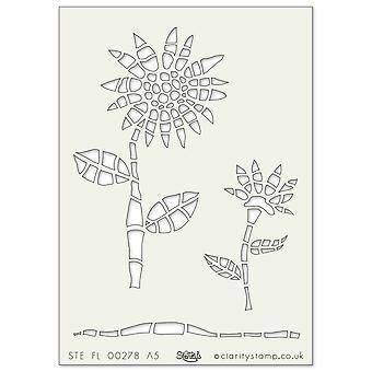 Plantilla de arte Claritystamp A5 Girasol