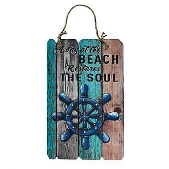 REBECCA möbler Sign tallrik dekorativa trä vägg blå brun Beach Soul retro rum
