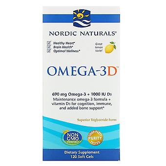 Nordiska Naturals, Omega-3D, Citron, 1000 mg, 120 Mjuka Geler