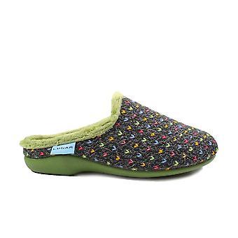 Lunar Whisper Green Textile Womens Mule Slippers