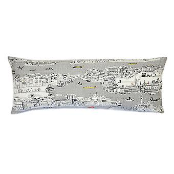 Spura Home Venice Printed Skyline Embroidered Wool Cushion Day/Night Setting