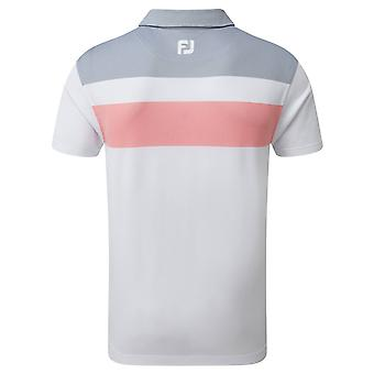 Footjoy Mens Double Block Birdseye Wicking Golf Polo Shirt