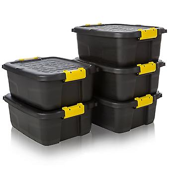 Strata Pack De 5 - 24 Litres Heavy Duty Storage Trunk Noir/Jaune