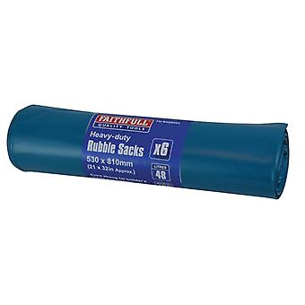 Faithfull Blue Heavy-Duty Rubble Sacks (6) FAIBAGRS6H